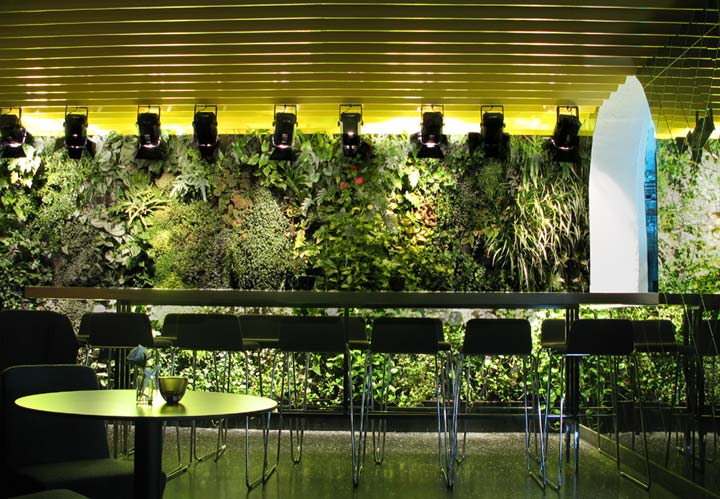Inspiring ideas for vertical gardens in restaurant bar